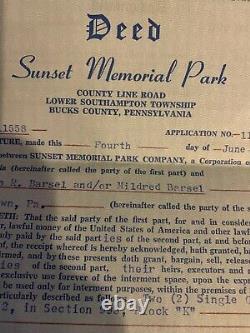 2 Cemetery Plots Sunset Memorial Park, Somerton, PA