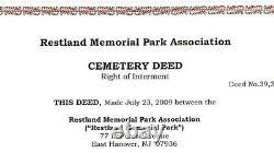 2 adjoining Cemetery Plots at Restland Memorial Park, East Hanover, NJ