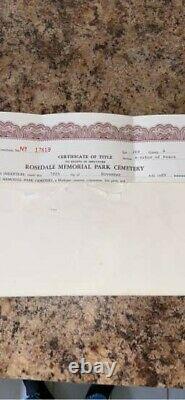 4 Funeral Plots at Rosedale Memorial Park Cemetery in Grand Rapids, Michigan