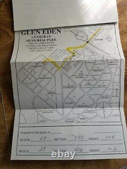 4 cemetery plots for sale at Glen Eden Lutheran Memorial Park Livonia Michigan