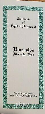Cemetery plots (2) in Riverside Memorial Park, S E County Line Rd. Tequesta, Fl