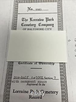 FOUR Cemetery Plots in Baltimore's Historic Lorraine Park EXCELLENT LOCATION