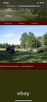 Rosedale Memorial Park Bensalem Pa. 2 Plots/ Side By Side Both For Only $1000